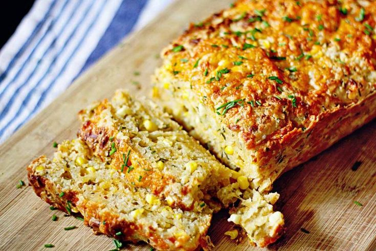 Cheddar, Chive & Corn Beer Bread - The flavors of sharp cheddar cheese, savory chives, and sweet corn combine in this mouthwatering beer bread. With just little prep and no kneading you can have a fresh piping hot loaf in no time to serve with soups, chili, or a plate of BBQ.