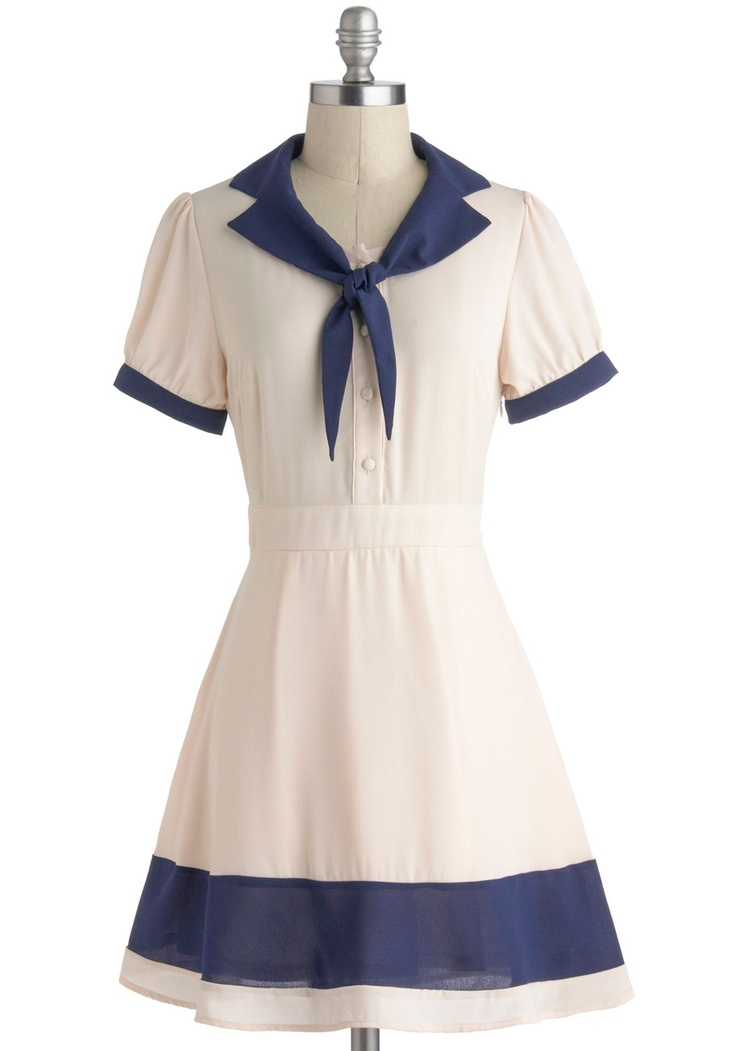 Delight of My Life Dress - Nautical, Cream, Blue, Buttons, Shirt Dress, Short Sleeves, Tie Neck, Solid, Casual, Collared, Vintage Inspired