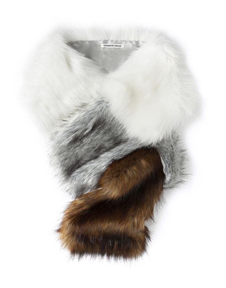 Block Faux Fur Scarf