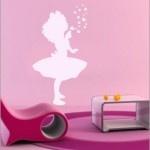Lovely little girl blowing bubbles wallart!