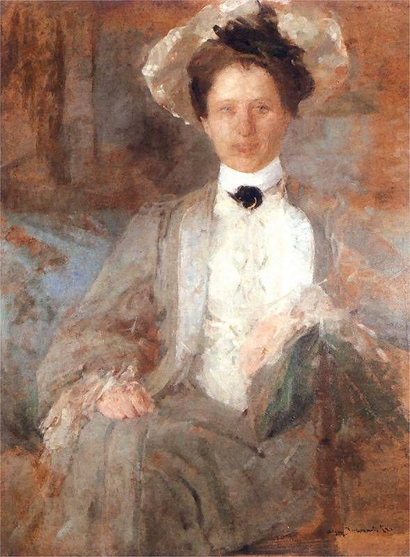 Portret pani w białym kapeluszu Olga Boznańska  Kraków 1865 - Paryż 1940
