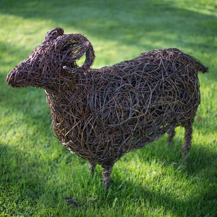 Swaledale sheep willow sculpture. Swaledale Ewe: £875 The sculptures are made using British willow that is interwoven and shaped around steel armature by talented artist Emma Stothard, who has been invited by HRH The Prince of Wales to exhibit her willow sculptures on the Orchard Lawns at Highgrove. The contrasting willow colours create form and definition in each animal sculpture. Finally the piece is then coated in a linseed oil and turpentine solution to preserve and protect it. Emma was…