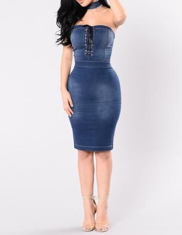 Blue Jean Strapless Lace Up Front Denim Pencil Dress