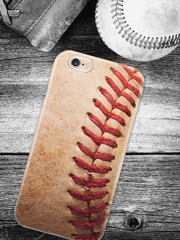 A cellphone case that has the texture of a vintage baseball. Feel the laces in…
