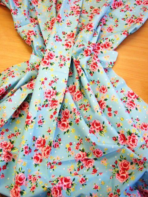 Blue chintz fabric