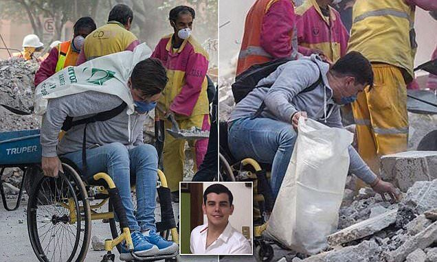 Moving photos of wheelchair-bound man in Mexico clean-up | Daily Mail Online