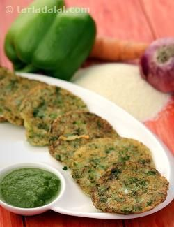 Mini Rava Vegetable Pancakes recipe | by Tarla Dalal | Tarladalal.com | #33100