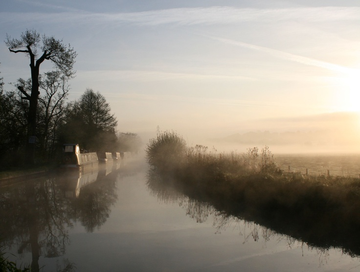 Early morning on the Llangollen Canal in Wales