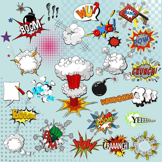 Superhelden Text Clipart Comic Text Clipart von BH…