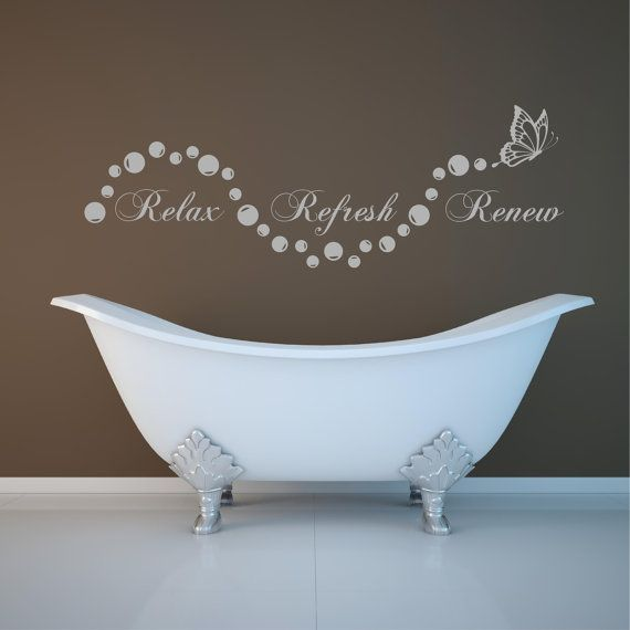 Relax bathroom Bubbles En Suite Wall Art Sticker Quote Decal Stencil Transfer on Etsy, $20.74