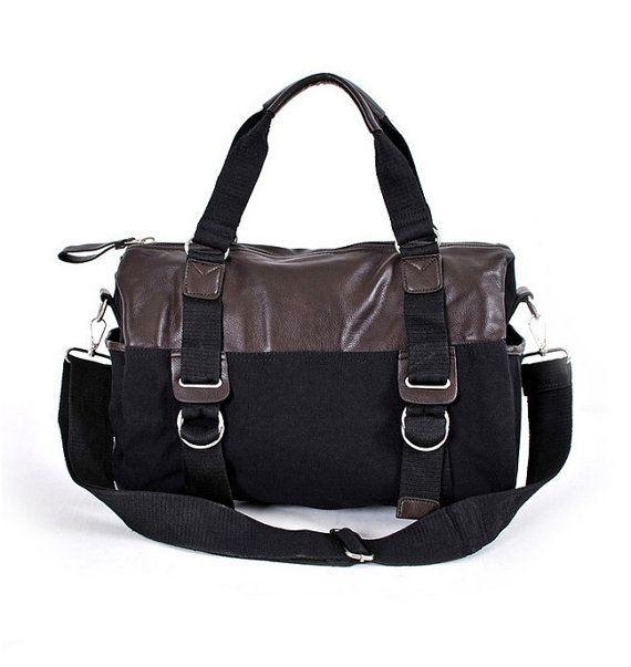 Black Canvas Leather Luggage Duffel Bag Womens by JoyandSurprise, $85.86