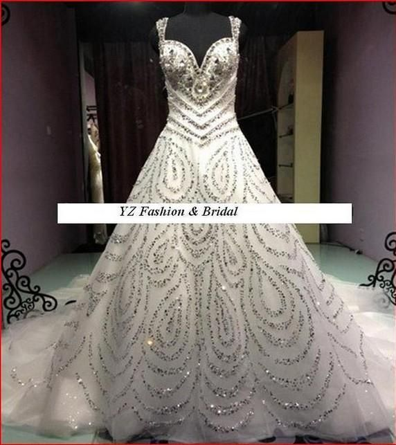 Superb  Gorgeous White Beading Sweetheart Sleeveless A line Shiny Wedding Dress Cathedral Train Backless Noble Fashion Bridal Gown Custom Made