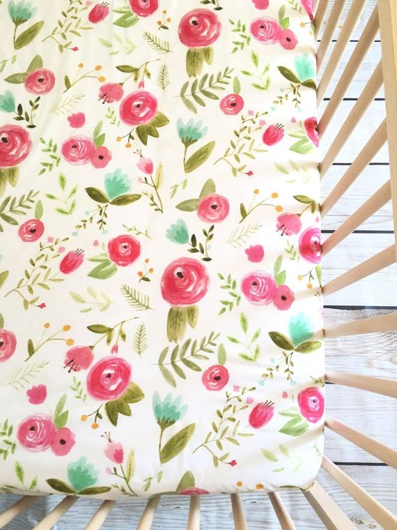 crib sheet pink peony fitted crib sheet floral crib sheet watercolor crib sheet spring crib sheet baby bedding girl crib bedding