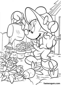 Printable Minnie Mouse working in the garden coloring page - Printable Coloring Pages For Kids