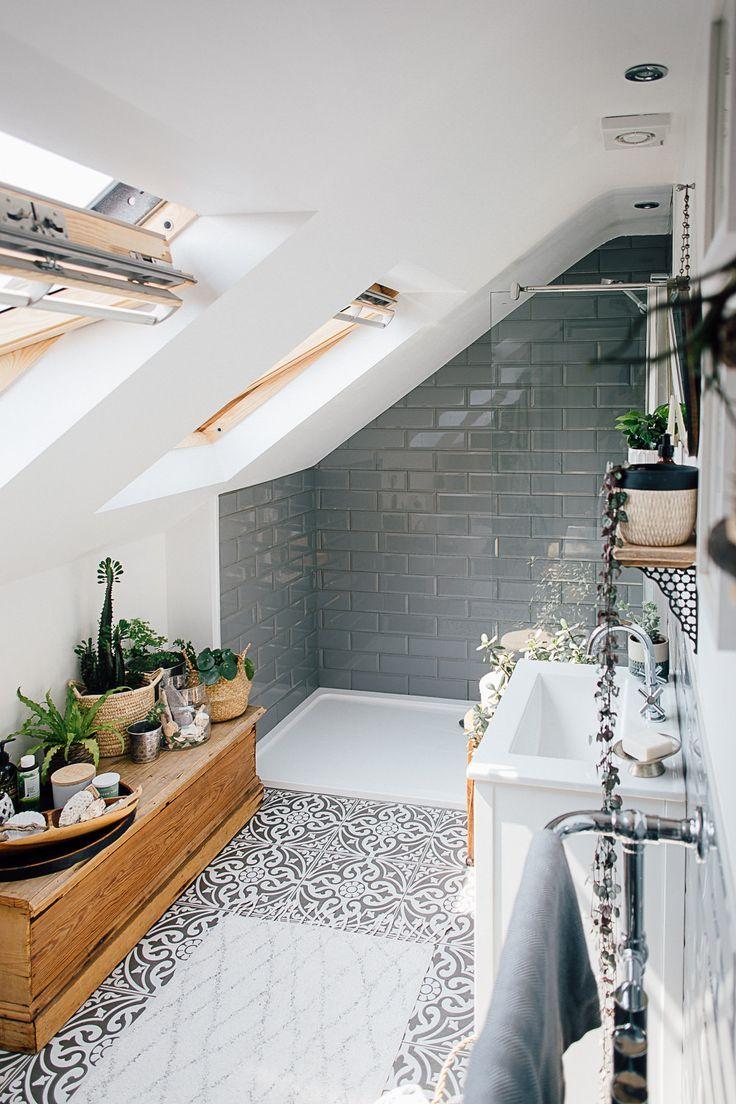 Graue Metro-Wandfliesen – Theresa Vier Bett Boho inspiriert nach Hause. Scandi-Bad