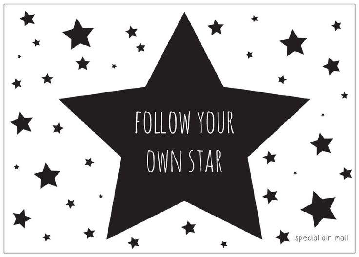 Ansichtkaart met quote follow your own star Stoere zwart