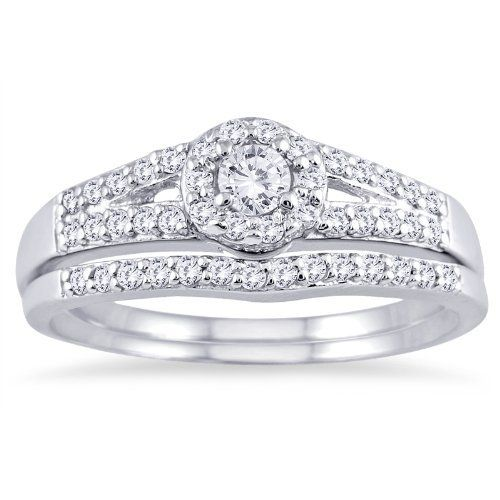 Cool Sterling Silver Wedding Set Ct Round Diamond Engagement Ring Bridal Halo New