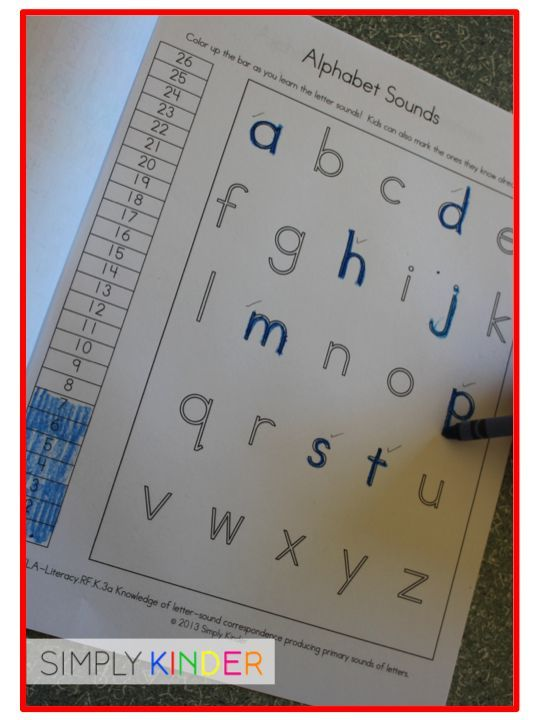 Alphabet tracking page for kids!  Part of a whole data book for kindergarteners to see their growth!  And it's free!  #SimplyKinder