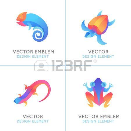 tatuaggio tartaruga: Vector set di modelli di design in colori sfumati vivaci - rettili e rane - emblemi astratti