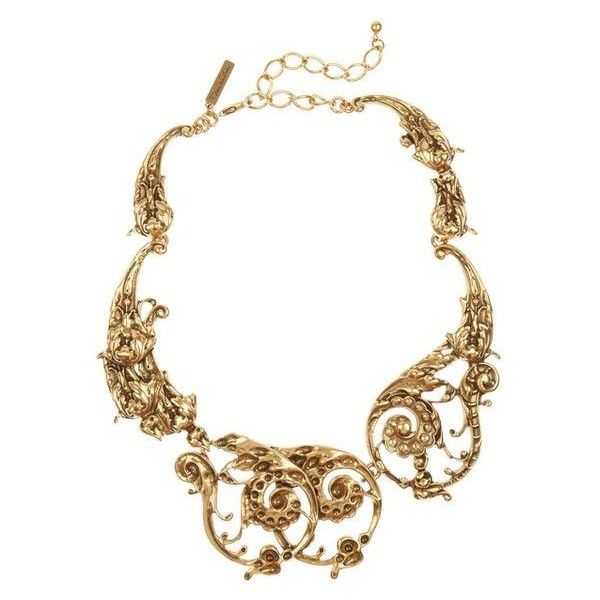 Oscar de la Renta 24-karat gold-plated scroll necklace ❤ liked on Polyvore featuring jewelry, necklaces, baroque necklace, 24k jewelry, 24-karat gold jewelry, oscar de la renta and oscar de la renta jewelry