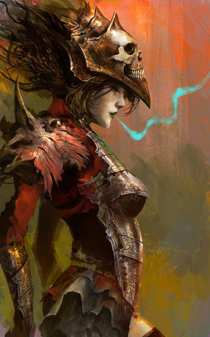 Warrior Princess, concept art, digital painting, skulls, sexy, demon, rpg, roleplaying, skull armor, inspirational art
