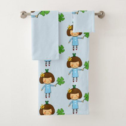good luck girl bath towel set - girly gifts special unique gift idea custom