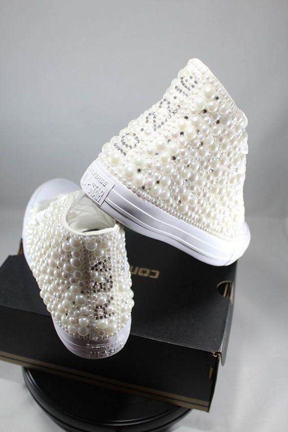541ef22a4fb2 Wedding Converse- Bridal Sneakers- Bling   Pearls Custom Converse ...