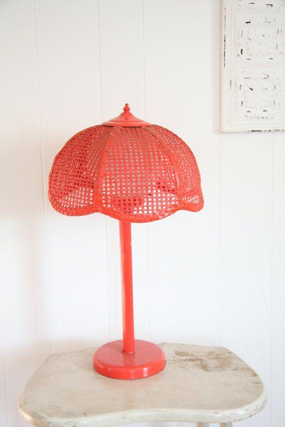 red lamp lamp vintage table lamp wicker lamp shade globe light retro home decor teen girls room retro light - Red Lamp