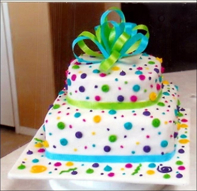 Birthday Cake Festive Cake With Colorful Appearance That Appropriate For Kids Birthday 0503 Easy