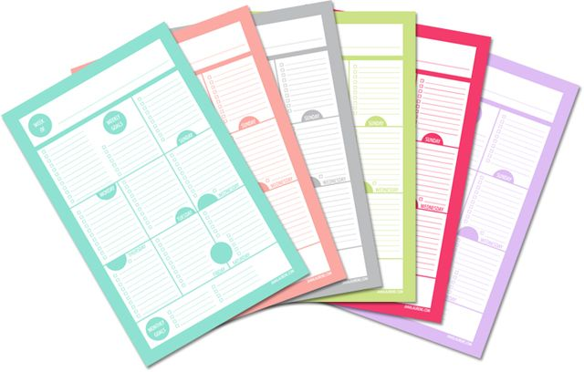 Free Printable Goal Chart/Planner/List to record daily, weekly and monthly goals. Very cute.   via  'bits of pretty' - janalaurene.com