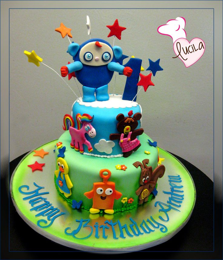 Fondant cake with hand made fondant applications