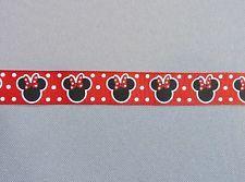 Ruban gros grain imprimé rouge motifs Minnie pois largeur 22mm longueur 2 mètres
