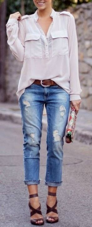 Cuffed Jeans and Strappy Sandals