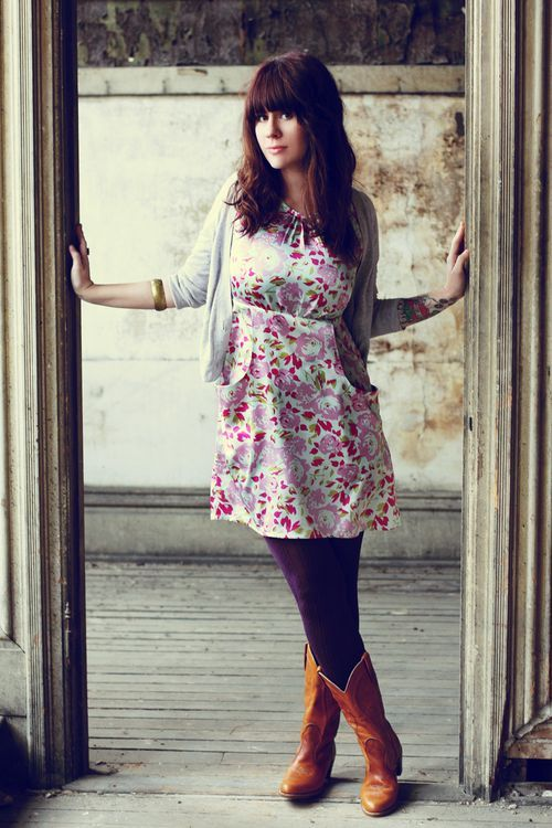 layers! fashionable and modest:)Summer Dresses, Doorway, Cowboyboots, Fall Outfit, Senior Pics, Senior Girls, Cowgirls Boots, Floral Dresses, Cowboy Boots With Tights