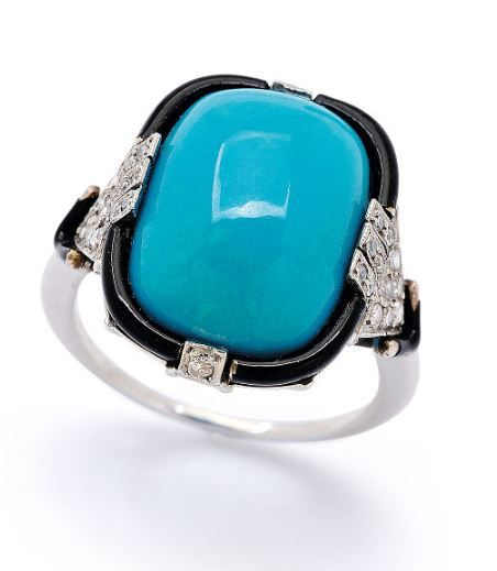 An Art Deco Turquoise, Enamel and Diamond Ring, circa 1925