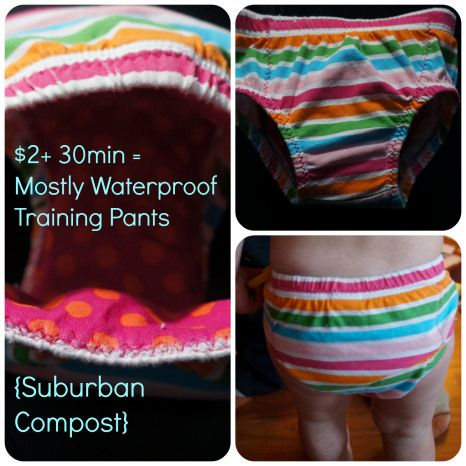 $2+30min = Mostly Waterproof Training Pants {Upcycled diaper covers tutorial}