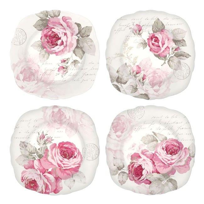 Τέσσερα όμορφα πορσελάνινα πιάτα και θέμα τα τριαντάφυλλα, για τα γλυκά σας.