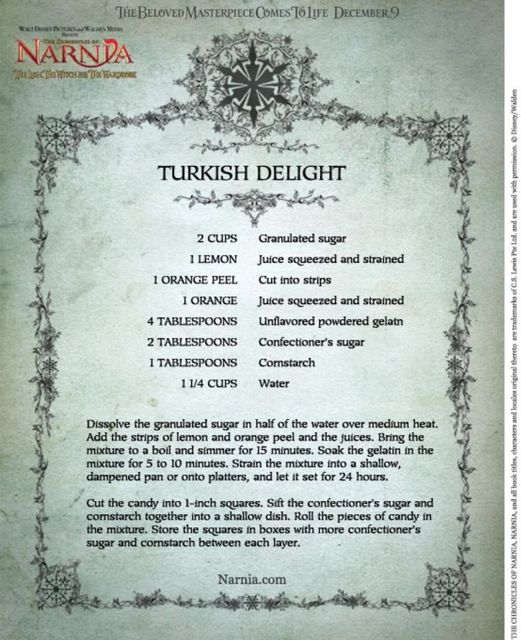 turkish delight recipe from narnia | And finally, here's Cassie's response to a letter from last week:
