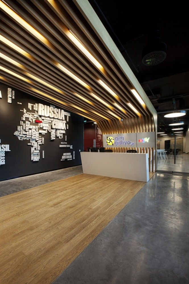 A stylized world map in this entrance area picks out the offices Turkish location.