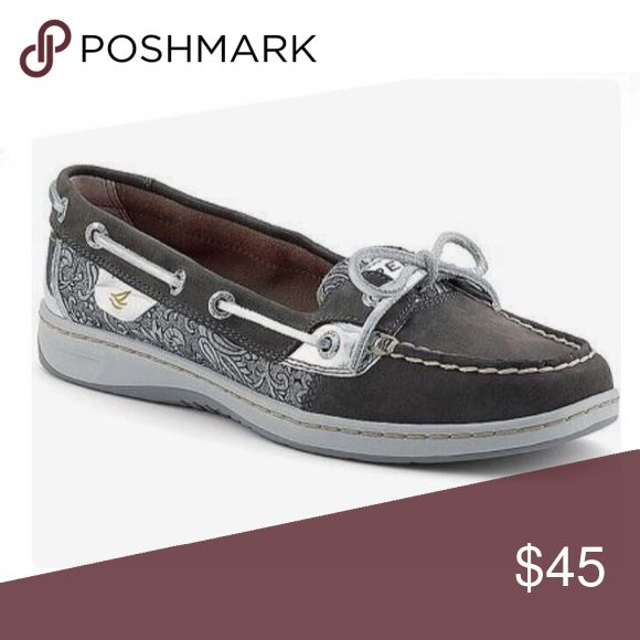 Sperry Angelfish Gray Suede Metallic Paisley Sperry Angelfish Gray Suede Metallic Paisley  size 9.5 Sperry Top-Sider Shoes Flats & Loafers