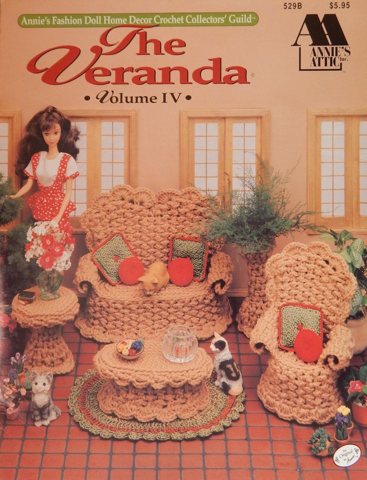 "The Veranda Vol 4 Crochet Pattern For 11 1/2"" Doll/ Annie's Fashion Doll Home Decor Crochet Collectors' Guild/furniture, sunroom/Slight Odor by RedWickerBasket on Etsy"