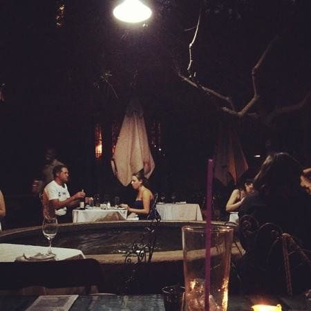 Romantic dinner at night under the olive trees !!