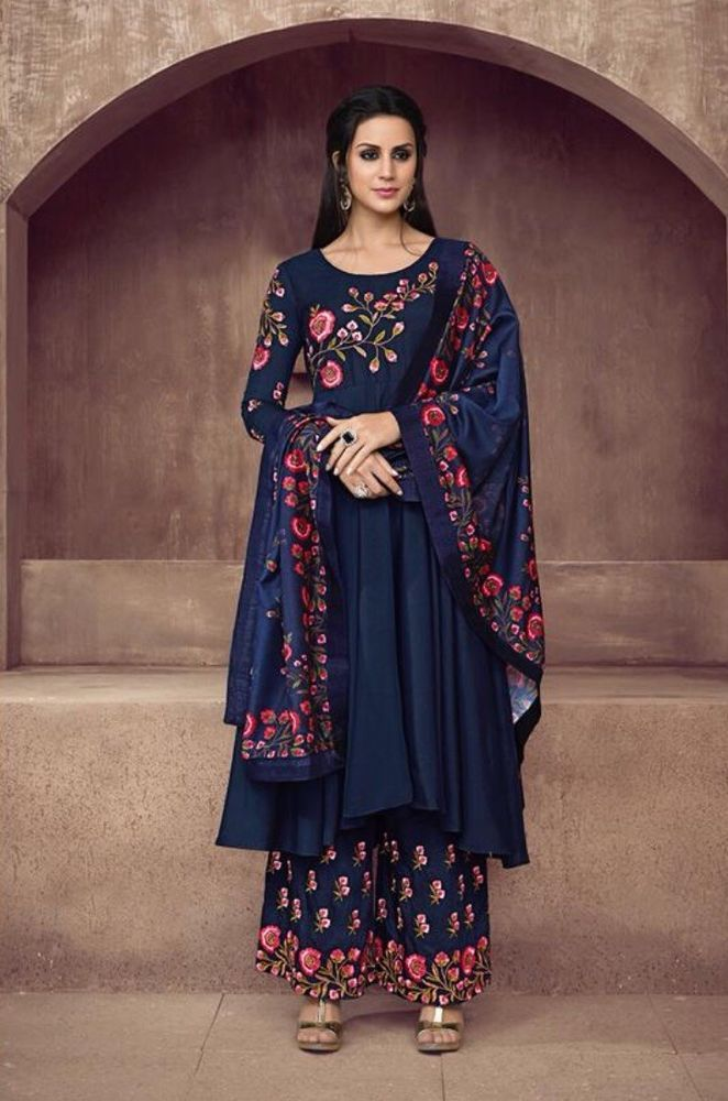 740ec08379 Stitched Readymade Muslin Kameez Plazzo Dupatta Indian Women Suit Size L XL  XXL   eBay