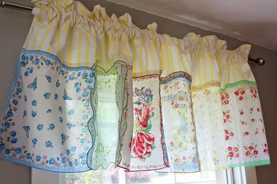 Hankie Valance Kitchen Handkerchief Floral Curtain Patchwork Ruffle Top Shabby Cottage