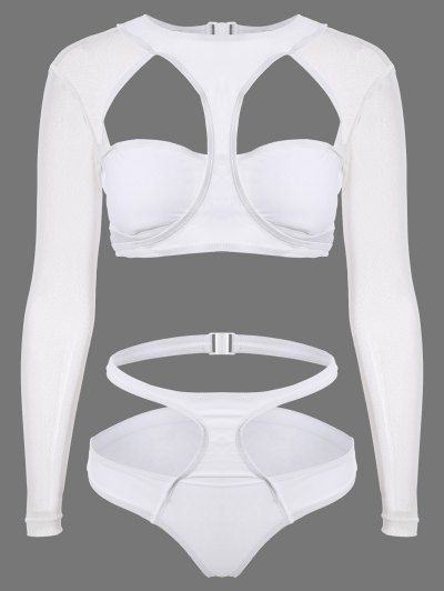 SHARE & Get it FREE   Long Sleeve Cutout High Rise Bathing Suit - WhiteFor Fashion Lovers only:80,000+ Items • New Arrivals Daily Join Zaful: Get YOUR $50 NOW!