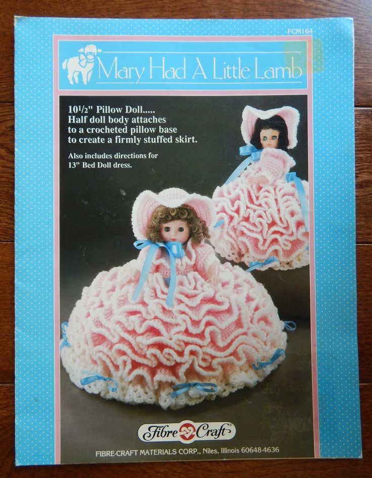 "Doll Dress Crochet Pattern For Pillow & Bed Doll/ Fibre Craft Mary Had A Little Lamb/ Size 13"" Bed Doll 8'' Pillow doll/ Nursery Rhyme by RedWickerBasket on Etsy"