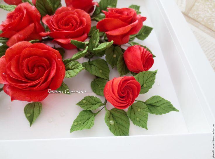 Купить Цветочная композиция в раме Красные розы - ярко-красный, цветочная композиция, цветы в раме