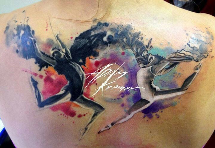 awesome Watercolor tattoo - Dancers Watercolor Tattoo...