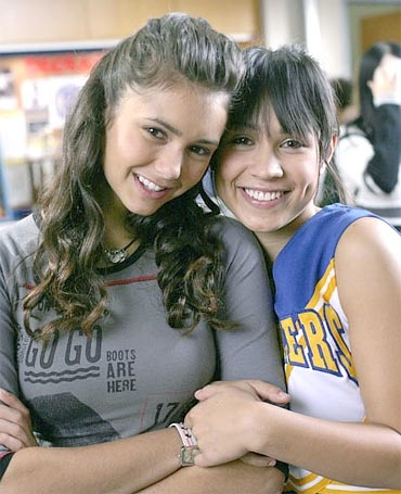 """Degrassi's Nina Dobrev and Cassie Steele. Played """"Mia"""" and """"Manny"""" on the show."""