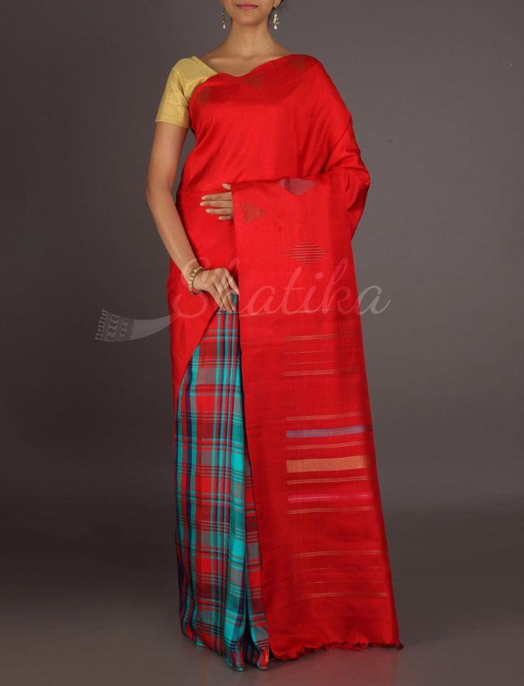 Vaishali Half Checks Half Plain Trendy #ArniSilkSaree